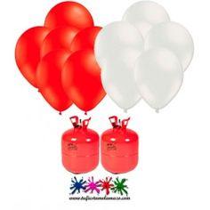 Pack 2 bombonas de helio Maxi más 50 globos rojos y 50 blancos.