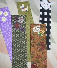 No sew scrap fabric bookmarks ~ might have to try this with some old recycled mens ties too !