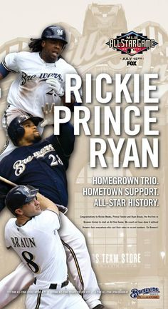 Rickie Weeks, Prince Fielder and Ryan Braun, the Brewers three All-Stars in 2011 Recorded Books, Milwaukee Brewers, Cleveland Indians, Softball, My Boys, All Star, Mlb, Prince, Baseball Cards