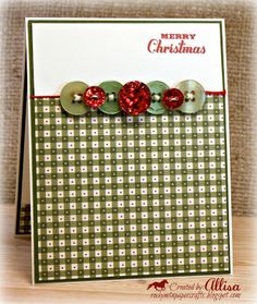 """Sweet """"Merry Christmas"""" Card...with plaid paper and button trim...Allisa Chilton."""