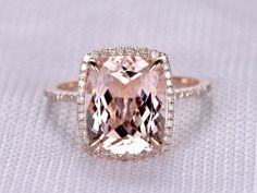 This listing is custom made for a special customer. Price for this 10x12mm morganite ring in rose gold in a size 7 is $825. Payment plan is : $225+$600   However,for any reason the item is not paid in Full,the Shop keeps $50 as a re-stock fee,the others will be refunded immediately.   Gemstone can be replaced with other birthstone.  Material: Solid 14k Gold( White/Rose/Yellow gold available,14 &18k available)  Bottom Band Width  Main stone: 10x12mm Cushion Cut 4.4ctww Natural Pink…