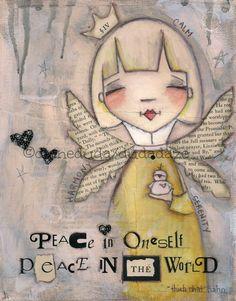 Orignal Folk Art Painting on Canvas Peace Within ©dianeduda/dudadaze