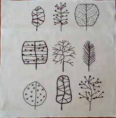 Hand-Embroidered leaves