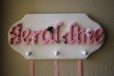 Wooden Name Plaque Bow Headband Holder with Jewelry by LolaMonkey, $65.00