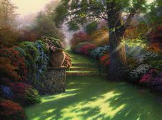 <Title: Pathway to Paradise>    <Collection: Visions of Paradise>   <2002>    <Style: Chiaroscuro>    <Thomas Kinkade Original>    <Limited Edition>