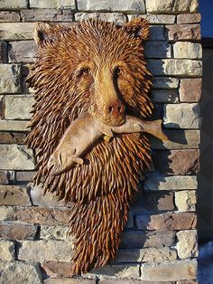 Hand carved grizzly & salmon...great work and excellent accessory for that wonderful rustic look.
