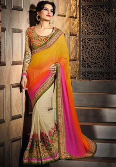 #Navratri #Special #Offer !!  #Classy #Cream & #Pink #Saree !!  #Cream And #Pink And #Mustard Georgette Saree designed with Heavy Zari,Resham Embroidery With Stone Work And Lace Border. As shown #Beige Art Silk Blouse fabric is available which can be customized as per requirements.  INR-6154.00 Only With Exclusive Discount Shop now @ http://tinyurl.com/nwk6fy8