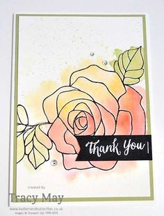 Rose Wonder from Stampin' Up! Thank You Card idea Tracy May