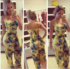 New Women Summer Clubwear Floral Playsuit Bodycon Party Jumpsuit Romper Trousers Rompers Women, Jumpsuits For Women, Long Jumpsuits, Fashion Jumpsuits, Evening Jumpsuits, Trousers Fashion, Yellow Jumpsuit, Floral Jumpsuit, Floral Playsuit