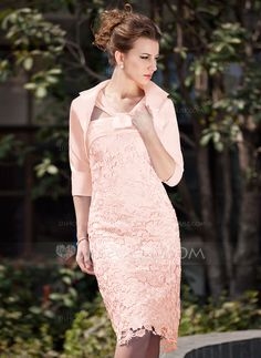 Sheath/Column V-neck Knee-Length Ruffle Zipper Up Regular Straps Sleeveless Yes 2013 Blushing Pink Spring Fall Winter General Plus Lace Mother of the Bride Dress