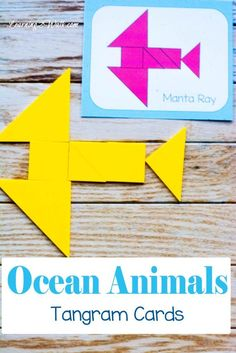 Use these ocean animals tangram patterns cards to help your kids further play with their tangrams. Definitely a fun ocean animals activity for both kindergarten and preschool. Ocean Activities, Preschool Activities, Preschool Printables, Summer Activities, Montessori, Daycare Themes, Free Printable Math Worksheets, Tangram, Homeschool Math