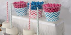 Chevron Gender Reveal Party Ideas: Cupcake Wrapppers #Chevron #PartySupplies