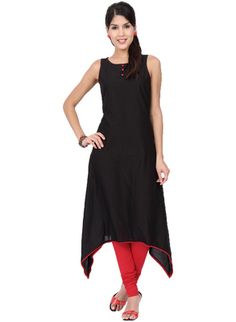 ab6ca9b7bab Thankar Black Designer Cotton Stitched Kurti - Buy Online at best prices on  Shimply.com
