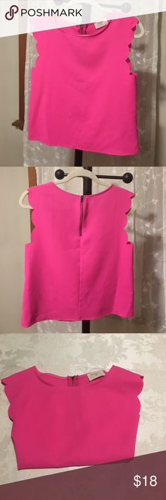 """Everly hot pink crop top Hot pink crop top by Everly. Super cute for summer. Pairs well with a high waisted pant or skirt for work! 17"""" across at just, 21"""" long. Everly Tops Crop Tops"""