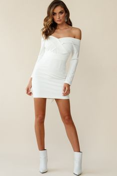 Elegance is an attitude and this dress has got it. We can't get enough of that classic off-shoulder neckline, with the foldover detail that continues . - Irina Off-Shoulder Long Sleeve Wrap Dress White Girls Party Dress, Girls Dresses, Party Dresses, White Boots, Going Out Dresses, Dream Dress, Casual Dresses, White Dress, Feminine