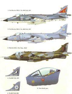 Sea Harrier/Harrier side views.