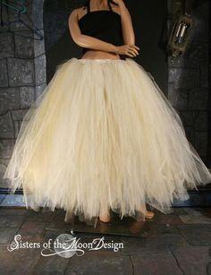 Broken Doll Bridal adult floor length tutu Glimmer skirt Streamer formal Ivory Gold adult wedding costume steampunk