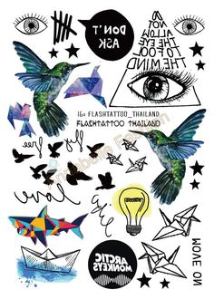 Taty Body Art Temporary Tattoo Stickers Gradient Colorful Birds Eye Shark Glitter Tattoo Sticker