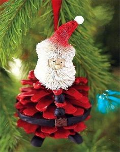 DIY Christmas Santa Pinecone Ornament.