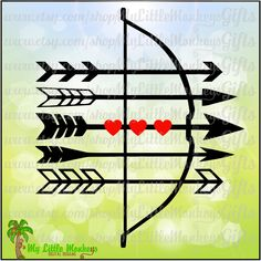 Bow and Arrows Hearts Valentine's Day Design Digital Clipart & Cut File Instant Download Jpeg Png SVG EPS DXF Formats - pinned by pin4etsy.com
