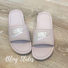 watch 6d8ac 2d3cd Women s Nike Slides ROSE Color Bedazzled with Swarovski - Benassi JDI Slip  on Sparkly Nike Sandals