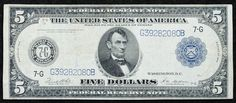 Lot 10: 1914 $5 Federal Reserve Note VF; Chicago, 7-G