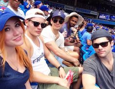 Kat McNamara, Dominic Sherwood, Alberto Rosende, Isaiah Mustafa, and Matthew Daddario bonding at a baseball game Shadowhunters Clary And Jace, Clary Et Jace, Shadowhunters Tv Series, Jace Lightwood, Shadowhunters The Mortal Instruments, Clary Fray, Shadow Hunters Cast, Constantin Film, Shadowhunter Academy