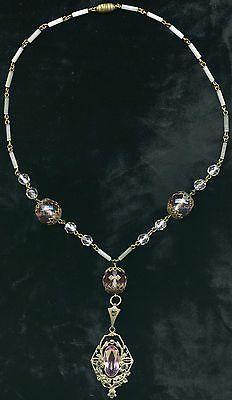 EXQUISITE c.1910-1920 CZECH OPENWORK ART NOUVEAU BRASS & GLASS NECKLACE/ PENDANT in Jewelry & Watches, Vintage & Antique Jewelry, Fine, Art Nouveau/Art Deco 1895-1935, Necklaces & Pendants | eBay