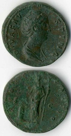 Rome emperor time: sestertius (26.6 g), Rome, Faustina Maior, on face draped bust to right, reverse Vesta left before altar, green toned, good very fine.    Dealer  Veuskens Auctions    Auction  Minimum Bid:  300.00 EUR