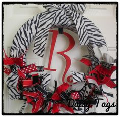 Image detail for -Zebra Wreath in Red ribbons for Baby Girl Hospital Door Hanger, bridal ...