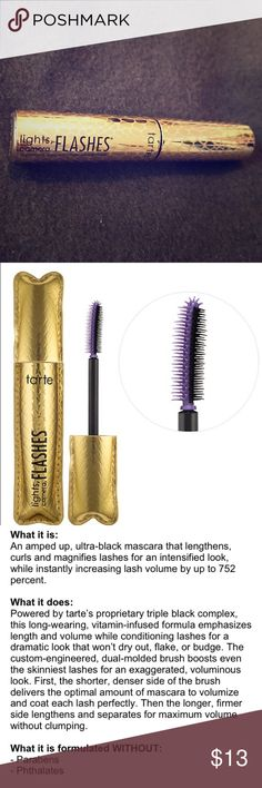 Tarte Lights Camera Flashes Mascara Brand new travel sized Tarte Lights Camera Flashes mascara in color - black , never been opened or used (0.16 oz) fast shipping tarte Makeup Mascara