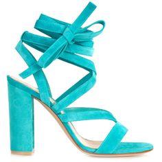 Gianvito Rossi Turquoise Janis Tie Sandal - Turquoise Janis Tie Sandal (21 435 UAH) via Polyvore featuring shoes, sandals, turquoise shoes, tie shoes, tie sandals, turquoise sandals и turquoise blue shoes