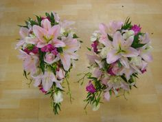 oriental lily with freesia shower bouquets  www.weddingflowersbylaura.com Lily Bouquet Wedding, Lily Wedding, Bouquet Images, Oriental Lily, Cascade Bouquet, Different Styles, Floral Wreath, Colours, Wreaths
