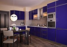 Modern Blue Kitchen Cabinets #08 (Kitchen-Design-Ideas.org)