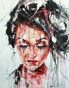 Lucile Callegari / T235 / Acrylique et fusain sur toile, 100x80cm, 2015.