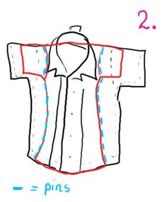 Men's button shirt -> Cute cap-sleeved top *DETAILED TUTORIAL!* [image obese] - CLOTHING