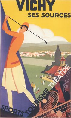 Luv! Vintage Resort Travel Poster by Roger Broders: Vichy, France