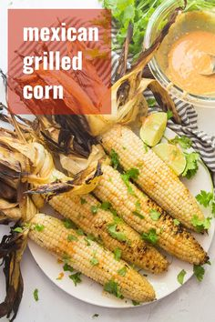 This Mexican grilled corn will steal the show at your next cookout! Fresh corn is smothered in a zesty sauce, grilled to perfection and served with a sprinkling of cilantro. You'll want to make this flavor-packed vegan side dish all summer long! Vegetarian Recipes Easy, Vegan Dinner Recipes, Delicious Vegan Recipes, Vegan Dinners, Vegetable Recipes, Vegan Appetizers, Healthy Recipes, Salad Recipes, Vegan Macaroni Salad Recipe