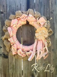 Handmade shabby chic wreath by RusticLilyDecor on Etsy