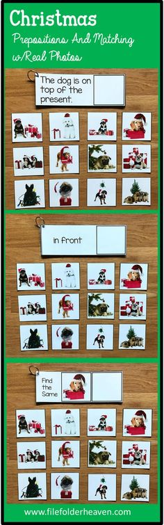 "These Christmas Sentence Comprehension and Matching Activities with Real Photos include five complete ""Big Flips"" or big flip books that focus on basic sentence comprehension, basic matching skills and include real photos. They work well in multi-level classrooms where students may be working at many different levels."