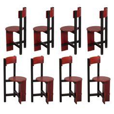 "Piet Blom Rare Set of Eight ""Bastille"" Chairs"