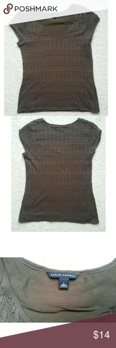 Banana Republic Crochet Top Large Banana Republic crochet top with built in liner. No snags, good condition, although the pictures seem brown it is actually a dark green. Banana Republic Tops Blouses