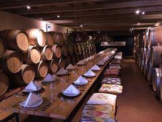 For up to 65 guests, our barrel room offer an unforgettable wedding sit down meal location! Wedding Locations, Table Settings, Wedding Inspiration, Restaurant, Weddings, Table Decorations, Barrel, Gem, Furniture