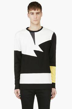 Pyer Moss Black & White Leather Panel Shirt for men | SSENSE