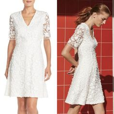 Pretty lace dress for summer - Adrianna Papell Lace Mesh Fit & Flare Dress #fashion #womenfashion #lacedress #dress #summerdress