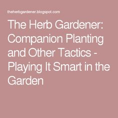 The Herb Gardener: Companion Planting and Other Tactics - Playing It Smart in the Garden