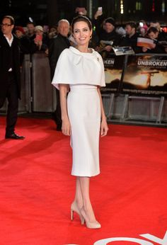 """Angelina Jolie in Ralph & Russo - UK Premiere of """"Unbroken"""" at Odeon Leicester Square on November 25, 2014 in London, England."""