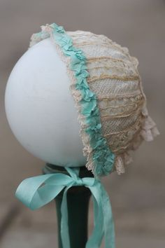 Beautiful lace doll bonnet,  German, French Bebe, antique doll