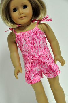 American Girl Doll Clothes Cute Pink and White Sequin Look Print Romper with Pillowcase Top 18 inch