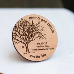 Rustic Tree Save the Date Magnets - Laser cut and Etched on Wood